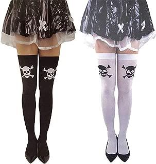 2 pr Skull Crossbones Thigh Knee High Stocking Socks Bundle Halloween Cosplay