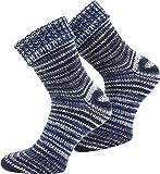 normani 2 Paar Wollsocken - mit Umschlag, im 'Skandinavischen' Style, in bunten Farben erhältlich Farbe Blau Größe 39-42
