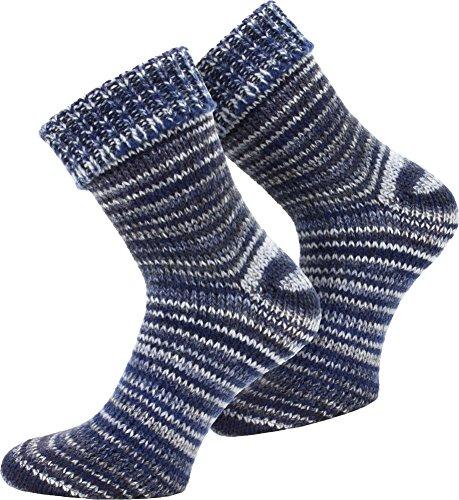 normani 2 Paar Wollsocken Skandinavien-Style wie handgestrickt, mit Umschlag für Damen und Herren Farbe Blau Größe 39/42