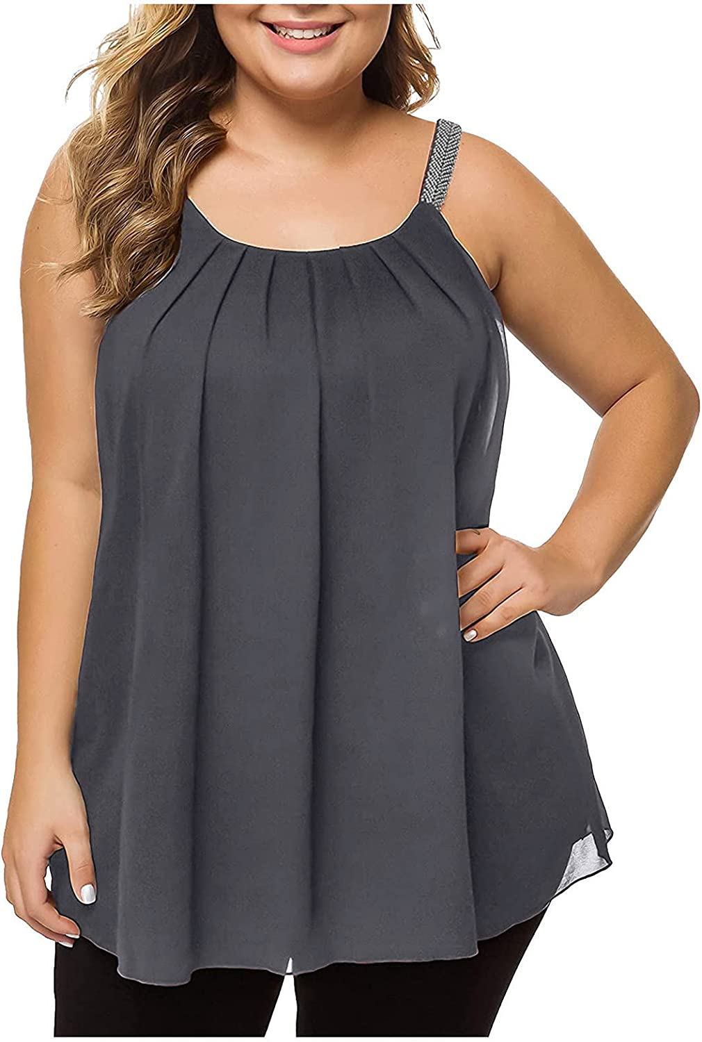 Womens Summer Tops Plus Size,Women's Plus Size Cami Casual Pleated Chiffon Tank Top with Beaded Strap
