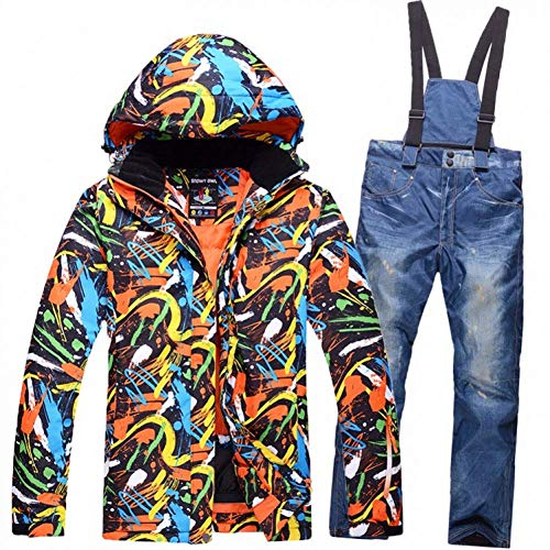 BCOGG Wasserdicht Winddicht Skianzug Ski Jacke + Ski Hose Für Männer Im Freien Atmungsaktive Snowbaord Kleidung Ski Jacke + Hose L B