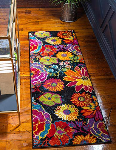 Unique Loom Lyon Modern Floral Area Rug_LYN016, 2 x 6 Feet for 24.04