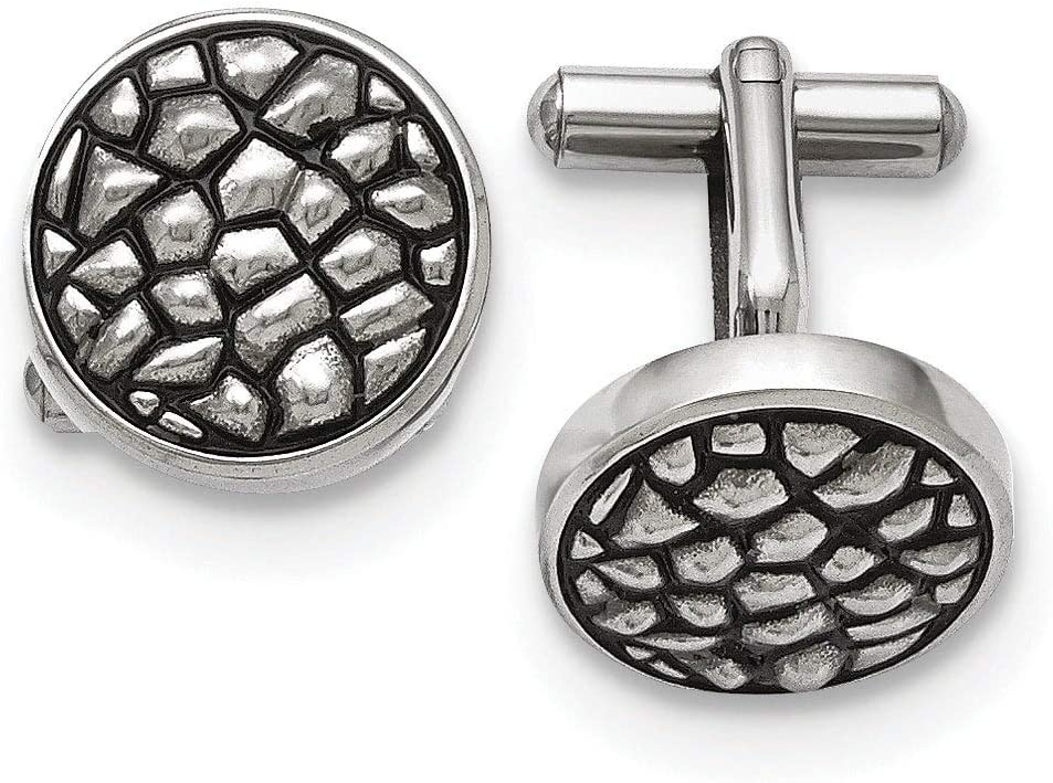 Stainless Steel Antiqued and Textured Cuff Links White Men's