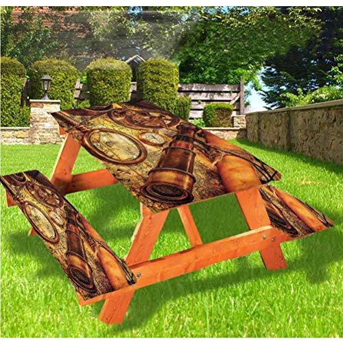 LEWIS FRANKLIN Cortina de ducha Antiguas Cubiertas de mesa de picnic de lujo, reloj en mapa antiguo náutico de borde elástico, mantel ajustable, 60 x 172 cm, juego de 3 piezas para mesa plegable