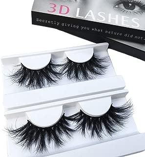 Mink Lashes 2 Pair 25mm 3D Mink Eyelahse Long Luxury 100% Siberian Mink Fur Natural Eyelashes Cruelty-Free Fluffy Fake False Eyelashes
