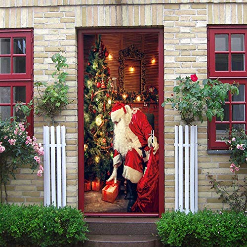 PYUK Verwijderbare Kerstman Deur Stickers Creatieve PVC Kerst Decoraties Deur muurschildering Lijm Houten Deur Renovatie Decal