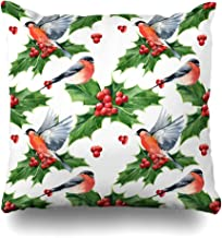Ahawoso Throw Pillow Cover Holiday Green Berry Watercolor Floral Christmas Holly Pattern Robin Aquarelle Nature Red Bird Botany Home Decor Cushion Case Square Size 20 x 20 Inches Zippered Pillowcase