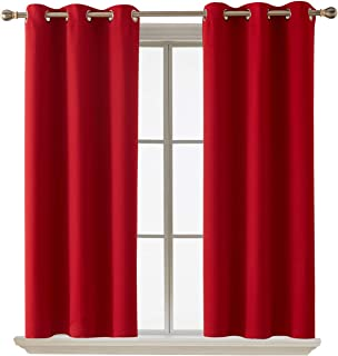 Deconovo Blackout Curtain Room Darkening Thermal Insulated Curtains Grommet Window Curtain for Bedroom Red 38 x 54 Inch 2 Panels