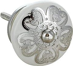 G Decor Zilver Applique III ronde keramische deurknoppen handgrepen (crème)