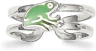 Lex & Lu Sterling Silver Green Enameled Frog Toe Ring