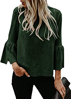 Womens Bell Sleeve Tops Suede Crew Neck Casual T Shirt Blouse Pullovers