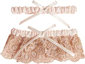 Blush Scalloped Lace and Satin Bow Garter Set Style M80068