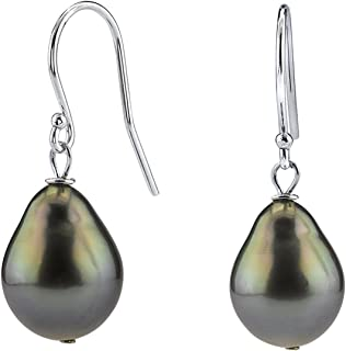 THE PEARL SOURCE 14K Gold 9-10mm Baroque Black Tahitian Cultured Pearl Dangling Tincup Earrings for Women