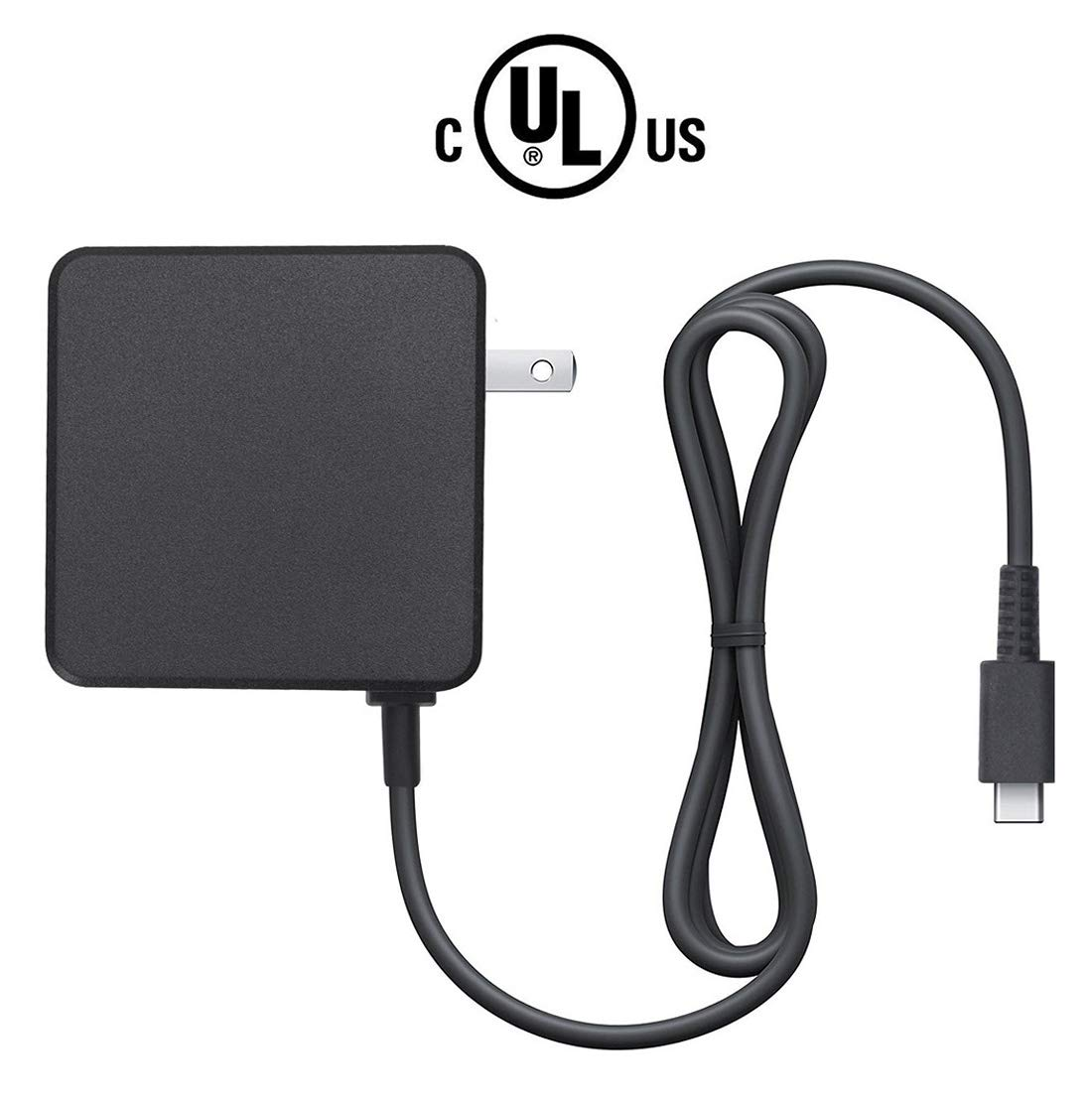 Amazon Basics Dual Voltage USB Type-C to AC Power Adapter Charger for Nintendo Switch - 6 Foot Cable, Black