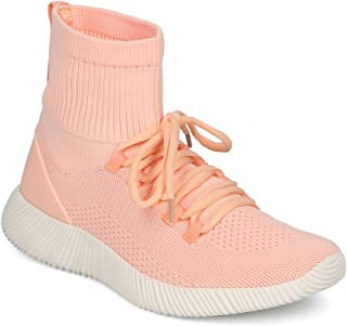 Alrisco Women Fabric Knit Lace Up High Top Jogger Sneaker HD46