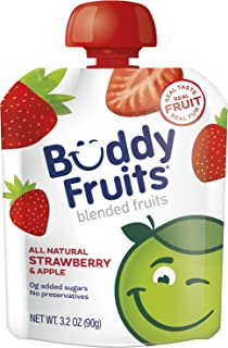 Buddy Fruits Pure Blended Fruit To Go Apple and Strawberry Applesauce | 100% Real Fruit | No Sugar, Non GMO, Vegan, Gluten...