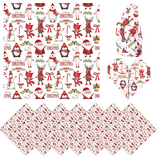 Whaline Christmas Cloth Napkins Red Merry Christmas Placemat Santa Snowman Reindeer Dinner Table Napkins Reusable Table Runner for Home Kitchen Holiday Christmas Party Decor, 6 Pack, 17' x 17'
