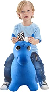 Bouncy Horse for Toddlers, Baby Bouncer Rocking, Bouncing Hopper Animals, Kids/Infant Riding Toys Girl Boy, Inflatable Farm Hopping/Hoppity Hop Sit and Spin (Blue)