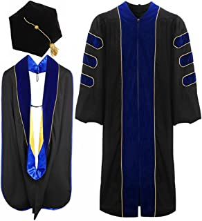 Deluxe Doctoral Graduation Gown Hood and Tam 6Sided Package