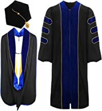 lescapsgown Deluxe Doctoral Graduation Gown Hood and Tam 6Sided Package