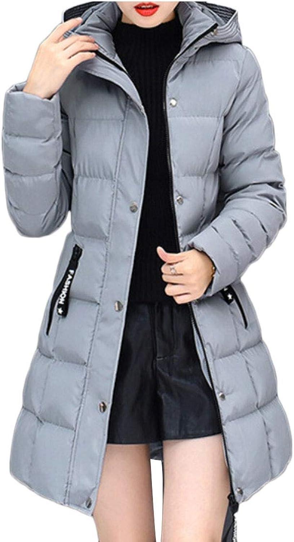 Gocgt Women Hood Thick Slim Jacket Long Overcoat KneeLength Down Puffer Coat
