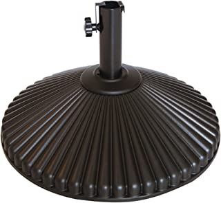 Abba Patio 50 lbs Round Patio Umbrella Base Recyclable Plastic 23.4 inch Diameter Outdoor Umbrella Stand Holder, Brown