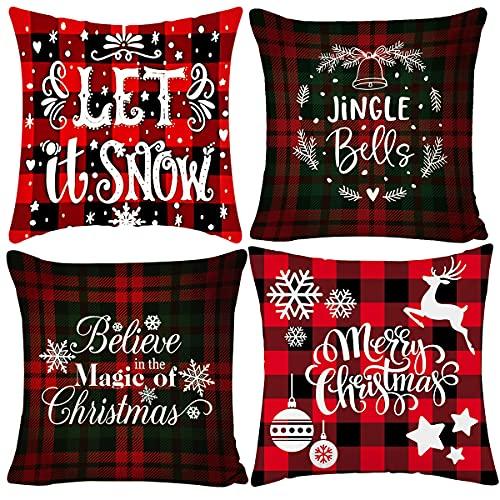 4 pcs Almohada de Navidad, Fundas Navideñas Para Cojines, Fundas de...