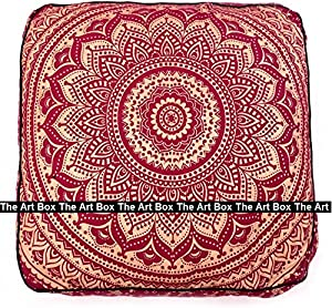 The Art Box New Gold Print Maroon Dye Floor Pillow, 35x35 Inches, 100% Cotton Square Pouf