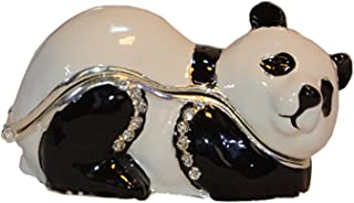 Trinket Box Metal Enameled Figurine Collectable Wedding Jewelry Ring Holder Organizer (Panda)