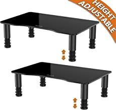 2 Pack Computer Monitor Stand Riser with Height Adjustable Multi Media Desktop Stand for Flat Screen LCD LED TV, Laptop/Notebook/Xbox One, Black HD01B-202