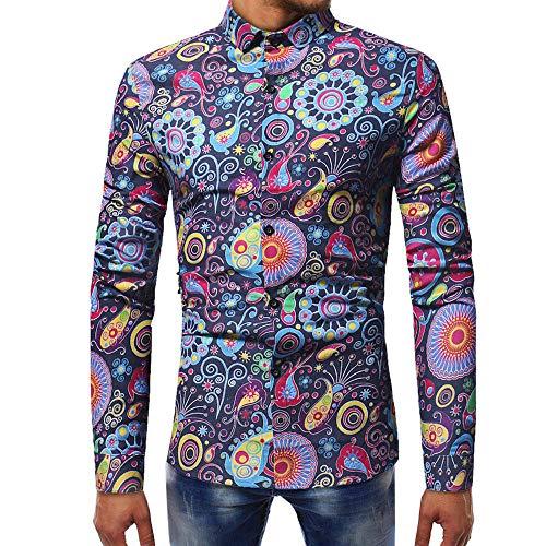 DNOQN Herren Freizeit Herbst Poloshirt T Shirt Lang Mode Bedruckte Bluse Lässige Langarm Slim Shirts Oberteile Marine M