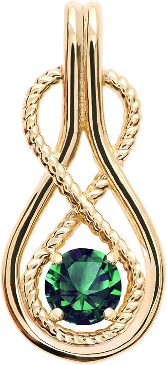 Infinity Rope May Birthstone Green CZ 14k Yellow Gold Pendant