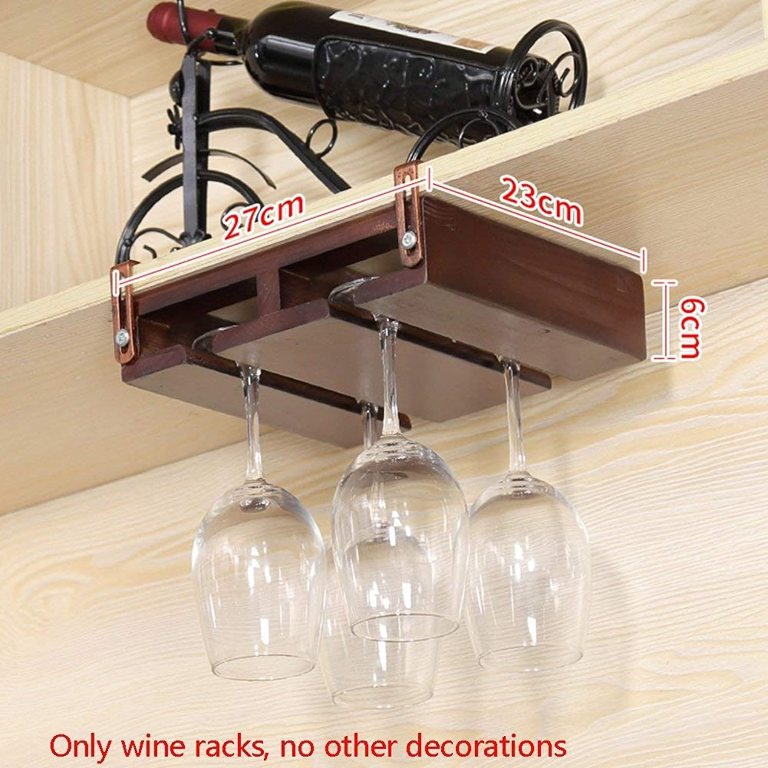 Red Wine Shelf Wine Racks Nail-Free Solid Wood Red Wine Glass Holder Upside Down Suspension Wine Cup Holder High Cup Holder Household Wine Cabinet Hanging Cup Holder (Size   27  23  6cm)