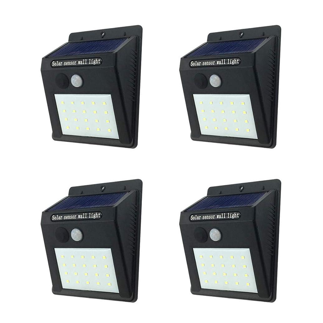 詩聴く小康センサーライト 屋外 ソーラーライト 人感センサーライト 20LED IP65防水 防犯ライト 自動点灯 太陽光発電 高輝度ライト 省エネ 明暗センサーライト 玄関/廊下/階段/駐車場など対応 取り付け簡単4セット