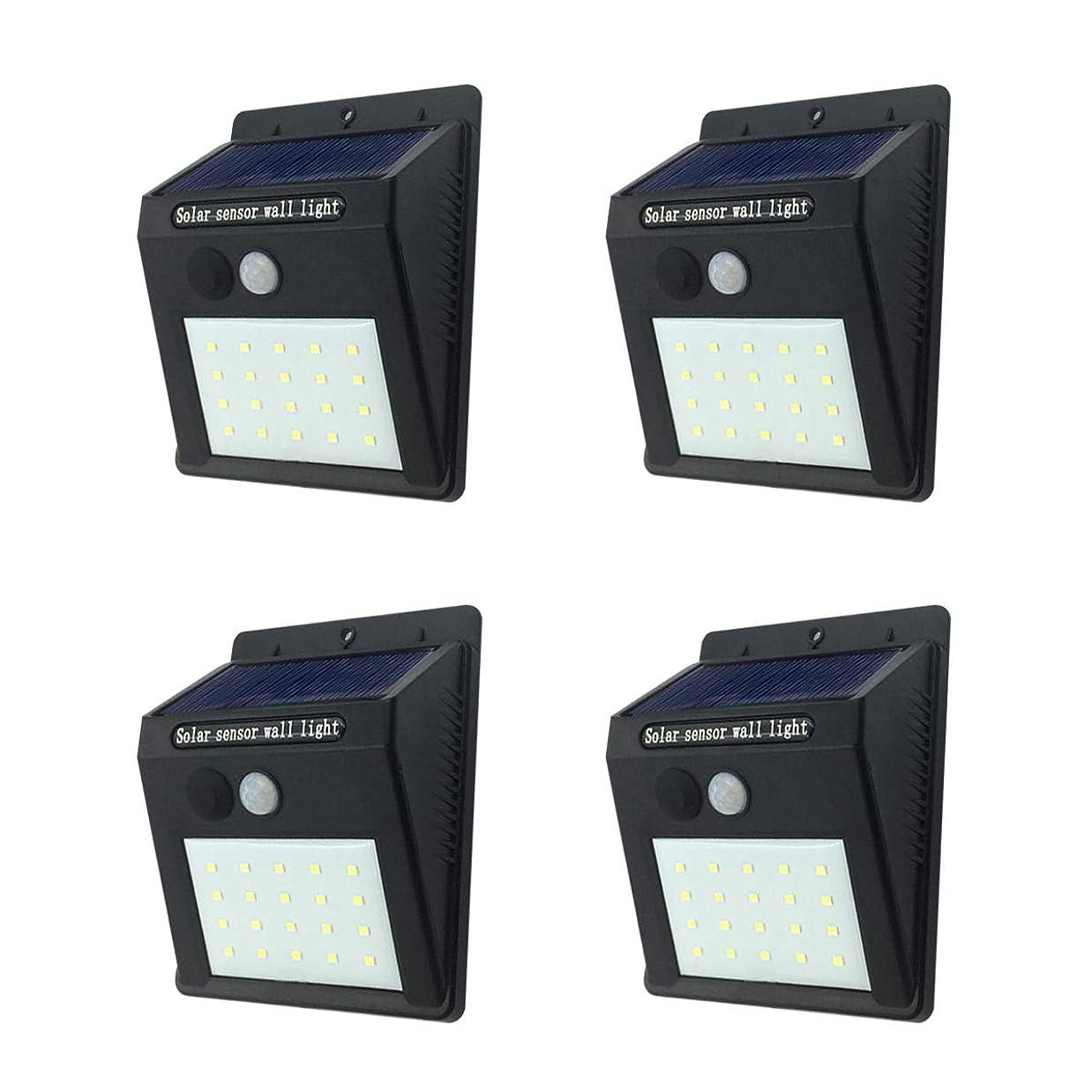 遠え聖歌呪いセンサーライト 屋外 ソーラーライト 人感センサーライト 20LED IP65防水 防犯ライト 自動点灯 太陽光発電 高輝度ライト 省エネ 明暗センサーライト 玄関/廊下/階段/駐車場など対応 取り付け簡単4セット