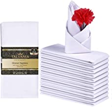 """Talvania Cloth Dinner Napkins - 12 Pack Luxuriously Soft & Hotel Quality Cotton Napkins, Brilliant Crystal White Fabric Napkins (18"""" X 18"""") Perfect for Events, Hotel & Home Use"""