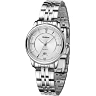 ROSDN Women's Wrist Watch, Date, Analog Quartz, Waterproof | Elegant Dress Bracelet Watch, Silver