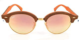 Ray-Ban RB4246M Clubhouse Wood Sunglasses, Light Bronze/Gradient Brown Mirror Pink, 51 mm