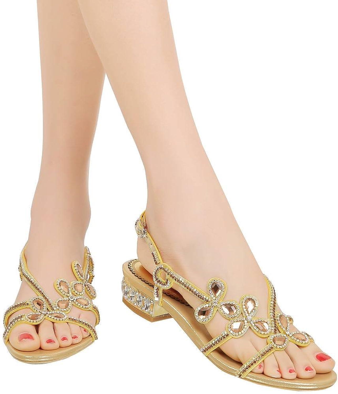 YooPrettyz Rhinestone Deco Asymmetrical Flat Sandals Open Toe Flower Slingback Beach Sandals