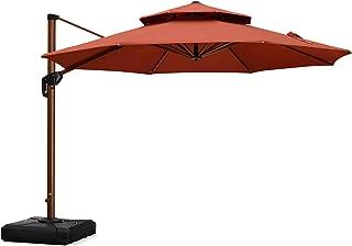 PURPLE LEAF 11 Feet Double Top Deluxe Wood Pattern Patio Umbrella Offset Hanging Umbrella Cantilever Umbrella Outdoor Market Umbrella Garden Umbrella, Brick Red
