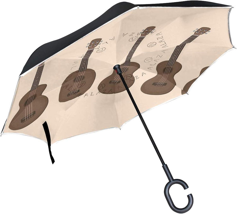 FAJRO Ukulele Pattern Upside Down Ingreened Umbrellas CShaped Handle for Car Rain Outdoor Women Men