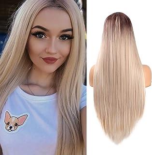 Ombre Rubia Pelucas rectas largas para las mujeres Aspecto natural Peluca sintética del pelo de la parte media Fibra resistente al calor 61 cm