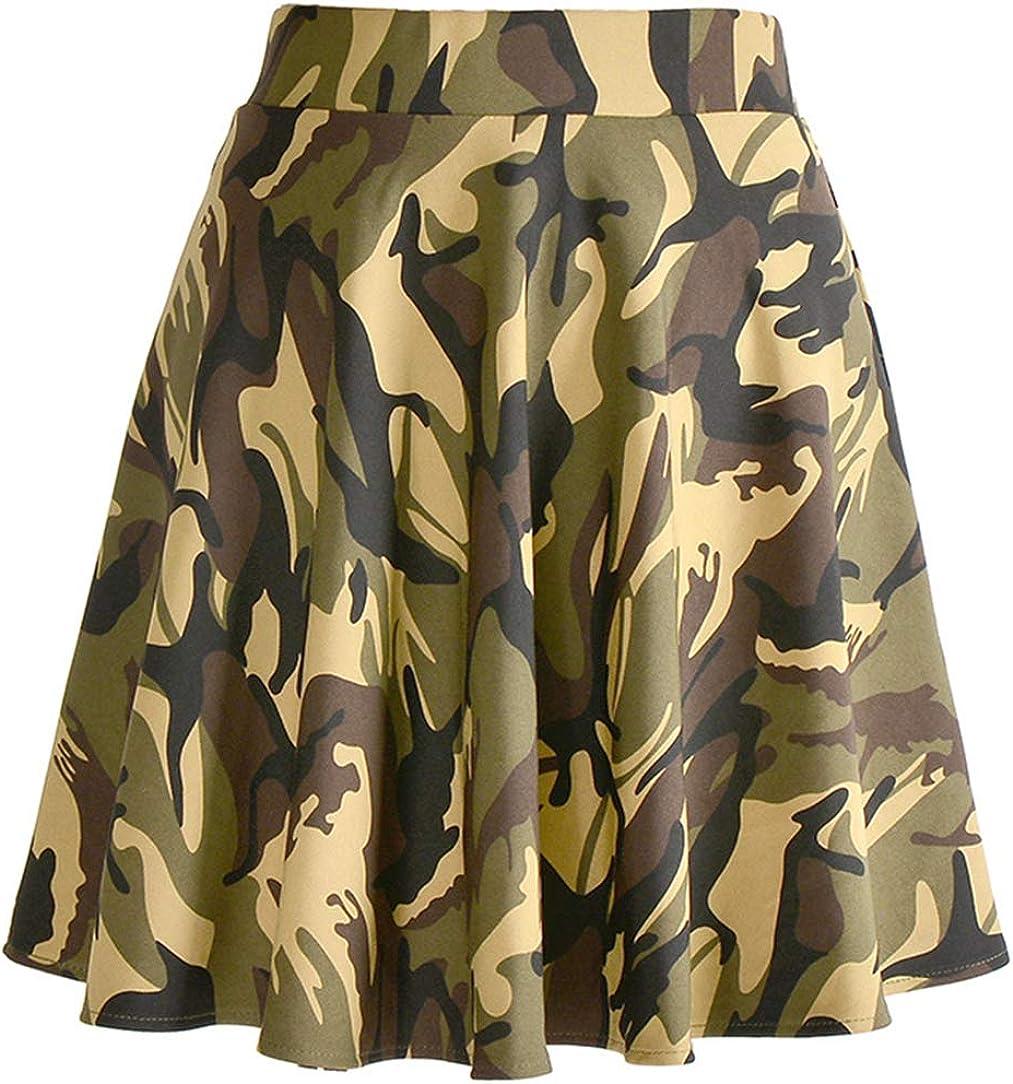CHARTOU Women's Elastic High Waist Flared Umbrella A-Line Military Mini Skirt