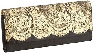 Women Clutch Envelope Handbag Party Elegant Black Gold Lace Evening Purse Bag Nylon Satin Interior
