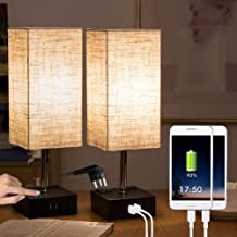 2 Pcs Bedside Lamps Built-in Dual USB Charging Ports,2 AC Outlets,Minimalist Design USB Desk Lamps Perfect for Bedroom,Office