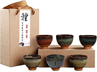 KCHAIN 6PCS Handmade Ceramic Cup Set 2.5oz 6 Colors Pottery Teacups Sake Cups for Tea Saki (A)