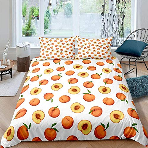 Winter Duvet Cover with 2 Pillowcases 3D Printed Sleeping Bedding Set 135 Cm x 200 Cm Retro fruit peach leaves maiden with Zipper Closure Unique Design Anti-allergic Duvet