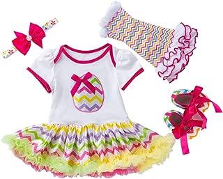 Fairy Baby 3Pcs Newborn Baby Girls Easter Outfit Bunny Eggs Romper Bodysuit Tutu Dress Set