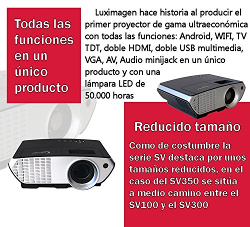 Proyector FULLHD modelo (2018)  Luximagen SV350, Android, Wifi, TV TDT, AC3, LED, compatible con PS4, Switch, Xbox One (Con TDT, Wifi, color negro): Amazon.es: Electrónica