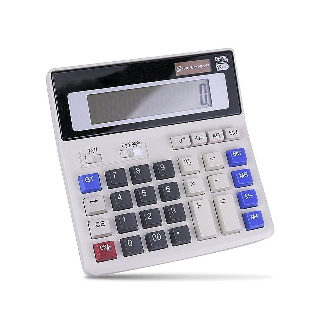 殺しますガラガラビルマlhiabnnビジネスミニデスクトップOffice 12桁大型LCD表示電子計算機科学的のソーラーとフィットセルバッテリーPowered for学生ビジネス財務 ホワイト
